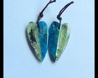 New,Blue Apatite ,Green Kyanite Intarsia Gemstone Earring Bead,30x15x3mm,6.1g(E9741)