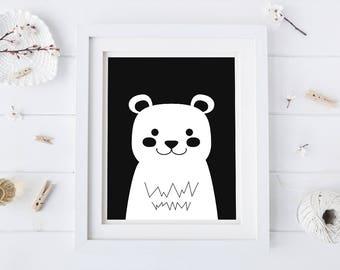 Black Bear Nursery Print - Black and White Art - Nursery Art - Nursery Prints - Bear Art - Bear Prints - Kids Wall Art - Kids Art Prints
