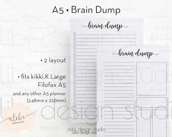 Brain Dump, A5 Planner Inserts, Brain dump inserts, To Do List, A5 Inserts, Brain dumping, Brain Dump Printable, Brain dumping, A5 Filofax