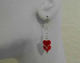 Red Enamel Hearts Dangle Earrings  Sweetheart
