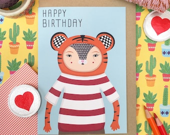 Birthday Card, Tiger Greetings Card, Happy Birthday Tiger, Blue A6 Card, Cool Card, Quirky Card, Kids Birthday
