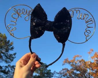 Minnie & Mickey Gold Wire Mouse Ears - Black Sequin