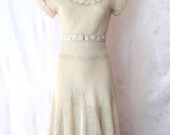 1930's After Wedding Dress, Hand Knit of Straw, Made in Italy