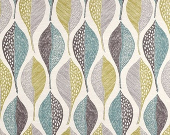 Modern Upholstery Fabric with Leaves - Aqua Grey Printed Cotton - Contemporary Large Scale Fabric Yardage