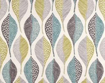 Tissu d'ameublement moderne avec feuilles - coton imprimé gris Aqua - contemporain à grande échelle tissu imprimé