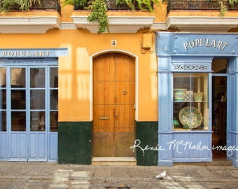 Spain photography, Seville print, large wall art, home decor, blue and yellow, Spanish decor, colorful wall art, Spanish architecture