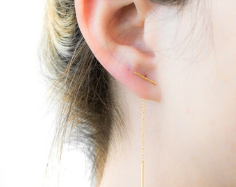 Bar Threader Earrings, Sterling Silver, Gold Plated, Delicate Chain Stick Earrings, Edgy, Minimalist Lunaijewelry, Handmade  Gift, CHE020