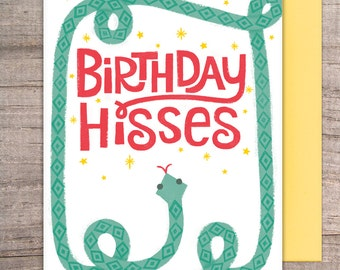 Birthday Hisses Greeting Card - happy, snake, hiss, pun, punny, boys, girls, men, women