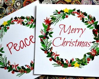 Holiday Wreath Christmas Cards.
