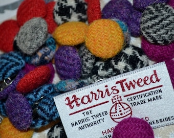 HARRIS TWEED BUTTONS 100% pure virgin wool with authenticity labels 2.5cm & 3cm Sizes - All colours