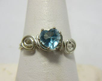Aquamarine Heart Ring, Sterling Silver Wire Wrap Ring, Size 8 Ring, Birthstone, March Birthstone Ring, Valentine, Native American Made #12D