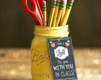 Teacher Gift - Teacher Mason Jar - End of year teacher gift - Teacher Appreciation Gift - Pencil Holder - Office Decor - Teacher Present