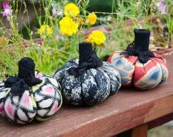 "3 Fabric Pumpkins for your Fall Decor 4"" across 3 1/2"" tall with Stem Thanksgiving Centerpiece or Halloween Decor Sale"