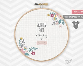 FLORAL BIRTH ANNOUNCEMENT counted cross stitch pattern, baby girl sampler xstitch pdf