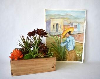 Watercolor Farm Boy Adobe Mexico 11x14