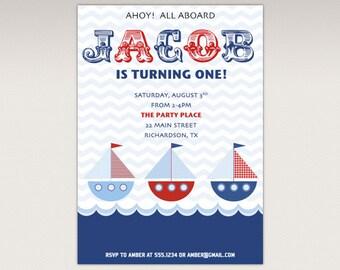 Nautical Boat Birthday Party printable invitation
