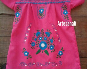 Traditional Mexican hand Embroidered size 2 years old/