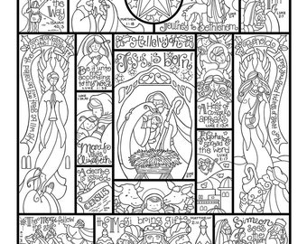 Story Of The Nativity Coloring Page In Three Sizes 85X11 8X10 Suitable For Framing 6X8 Bible Journaling Tip KristaHamrick