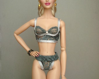 Fashion Royalty, Barbie lingerie, Grey and Silver