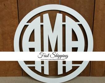 PAINTED Wooden Monogram - Circle Monogram - Monogram Door Hanger - Monogram Wall Hanging - Wedding Monogram - Nursery Monogram