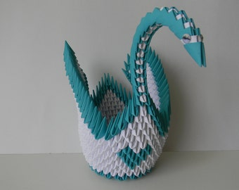 3d Origami Paper Swan Teal Heart Home Decor Anniversary Birthday Valentine Love Gift Party Decoration Centerpiece
