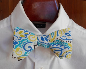 Bow Tie - Blue and Yellow Floral - Men's self tie