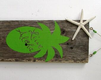 Live Aloha Pineapple Driftwood Art with Seastar (Made to Order) Hawaiian deco
