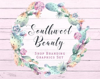 Watercolor Cactus Shop Branding Cover Photo Banners, Icons, Business Card, Logo Label + More - 13 Premade Graphics - SOUTHWEST BEAUTY