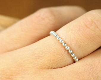 Silver Bead Ring! 925 Sterling Silver Beaded Ring! UK Seller! Fast Dispatch!