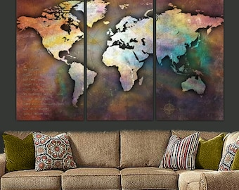 World Map Canvas, Antique Map, Large Wall Art Up to 6 ft. Wide, Custom Wall Decor, Travel Map, Large Canvas Wall Art, Personalized Gifts