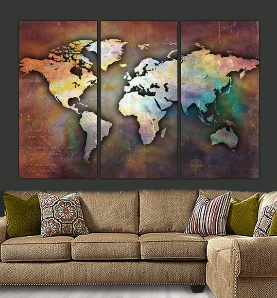 World map canvas antique map large wall art up to 6 ft like this item gumiabroncs Choice Image