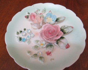 Vintage Hand Made  Floral Ceramic Wall Plate