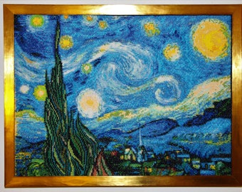 "Absolute work of art! ""Starry Night"", cross Stitch, 100% manual work"