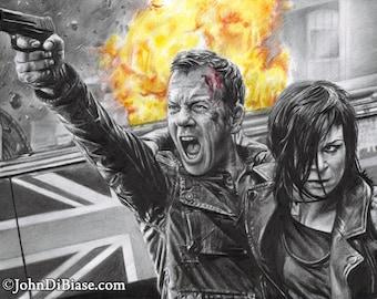 "Drawing Print of Kiefer Sutherland as Jack Bauer with Mary Lynn Rajskub as Chloe in ""24"""