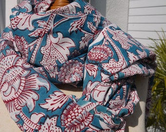White cotton Voile Indian stamp hand - printed block print - turquoise Pink for top pareo...