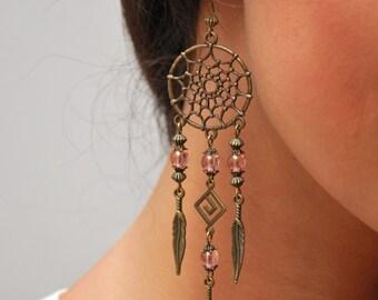 Boho Dream Catcher earrings, hippie earrings, DreamCatcher summer feather bead jewelry, bohemian earrings, gypsy pink long jeweley