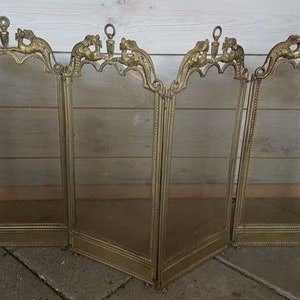 antique fireplace screen. antique french gothic dragon fireguard / fireplace screen, foldable 1920s screen