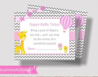 DIAPER RAFFLE TICKET Printable Pink and Gray Giraffe Baby Shower |  Hot Air Balloon Baby Shower | Diaper Raffle for Girl | Pink Baby Shower