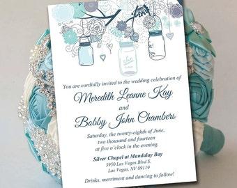 Printable Wedding Invitation Template - Mason Jar Invitation Charcoal Blue Mint DIY Wedding Template - Printable Wedding Instant Download
