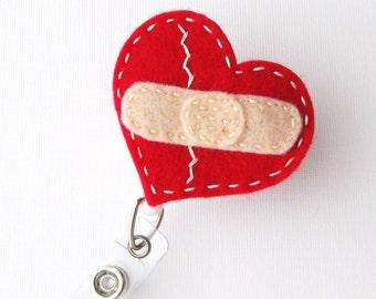 Healing Heart - Name Badge Holder - Cardiac Nurse Badge Reels - Retractable ID Badge Holder - Felt Badge Reel - Peds RN Badge - BadgeBlooms