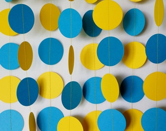 Blue and Yellow Garland, Birthday Decorations, Fathers Day, Nursery, Baby Shower, Graduation Decoration
