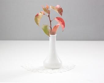 White Milk Glass Heirloom Bud Vase