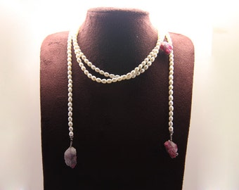 1pcs(jen-0175) - hand made necklace with fresh water pearl,tourmaline,brass and cz