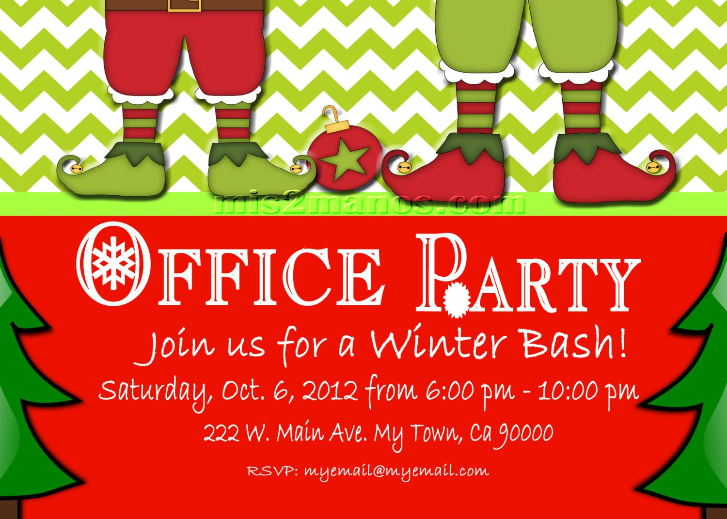 Christmas Office Party Invite Printable Personalized Season