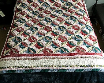 "Unique Vintage hand stiched quilt/ handmade quilt with ""Circle star""pattern--vintage hand stiched queen-sized quilt."