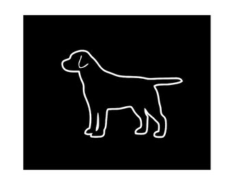 Labrador Retriever v2 Dog Breed Silhouette Custom Die Cut Vinyl Decal Sticker - Choose your Color and Size