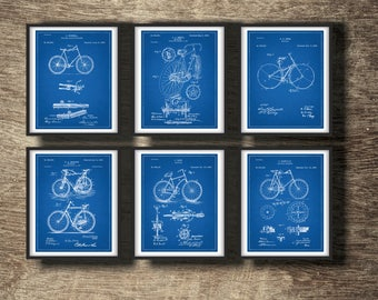Bicycle blueprint etsy bicycle blueprint set of 6 patents bicycle blueprint print bicycle blueprint posters art malvernweather Images