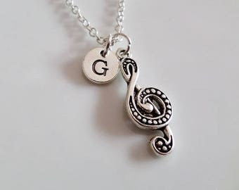 Music note necklace, Treble clef necklace, Music teacher gift, Musician necklace gift, Personalized necklace, singer gift, friendship gift