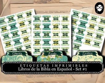 Printable Page Tabs - Etiquetas de Libros de Biblia -  Set #1 - 3 Pg Instant Download - inspire bible tabs, illustrated faith, scripture art