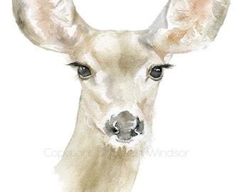 Doe Watercolor Painting Print - 4 x 6 - Woodland Animal Giclee Reproduction - Deer Nursery Art